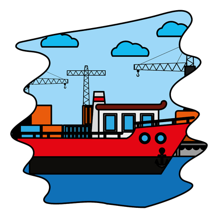 color ship transport with crane object and containers