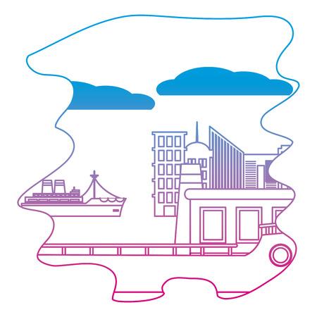 degraded line side ships delivery transport in the sea Illustration