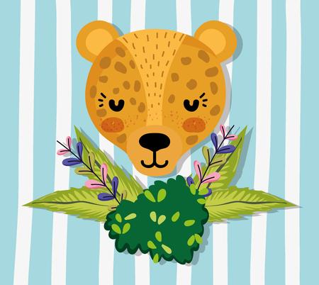 Cute jaguar wildlife animal cartoon
