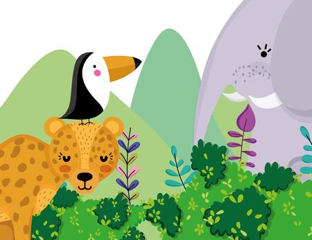 Cute wildlife animals cartoons Stock Illustratie