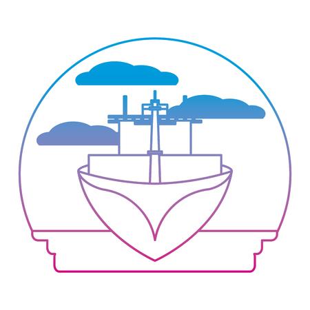 degraded line front ship transport sea vehicle Illustration