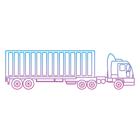 degraded line side truck transport with container cargo Illustration