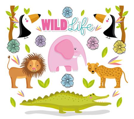 Wildlife cute animals 向量圖像
