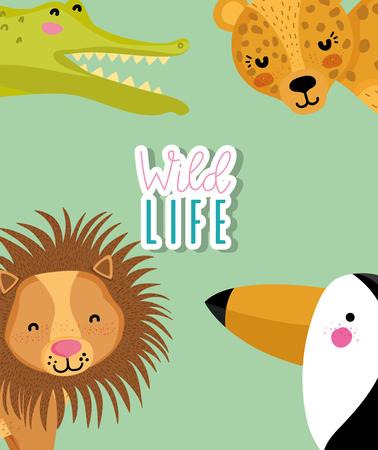 Wildlife cute animals Stock Illustratie