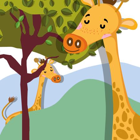 Cute giraffes wildlife cute cartoond