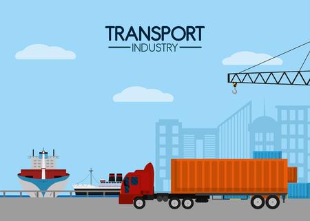 Maritime transport industry Stock Vector - 102176313