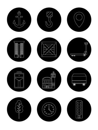 Set van levering ronde iconen