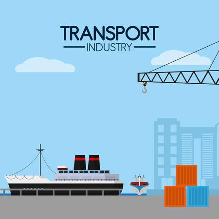 Maritime transport industry Stock Vector - 102176247
