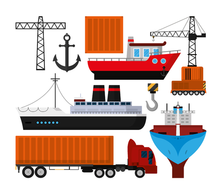 Maritime transport industry Stock Vector - 102176209