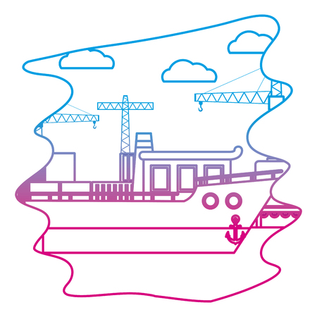 degraded line ship transport with crane object and containers vector illustration Illustration