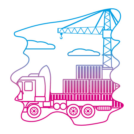 degraded line cargo containers with truck transport and crane vector illustration