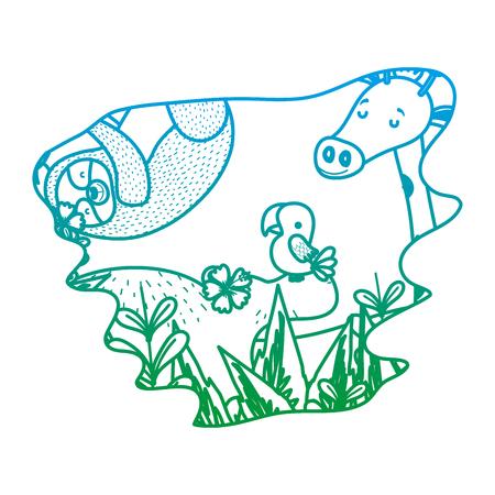 ligne dégradée beaux amis animaux sauvages dans l'illustration vectorielle de forêt