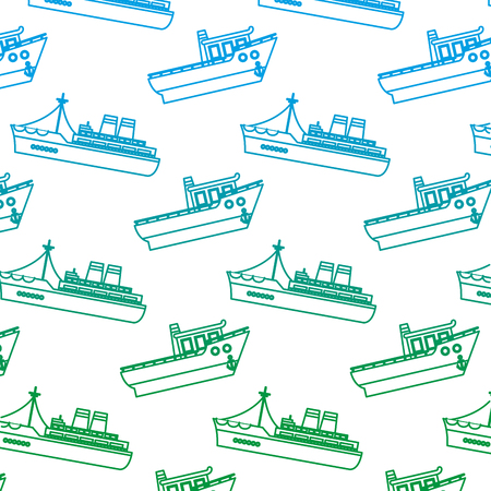 degraded line ship transport sea vehicle background vector illustration