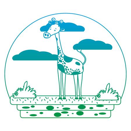 dégradé ligne belle girafe animal sauvage dans l & # 39; illustration vectorielle de paysage