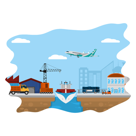 delivery service transport vehicles and crane vector illustration