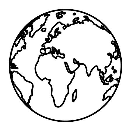 Linienkreis globale Karte Asien und Europa Geographie Vektor-Illustration