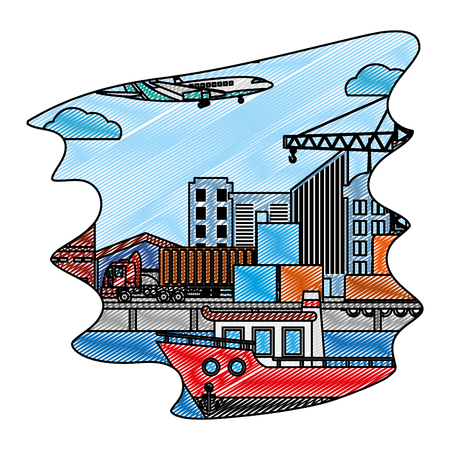 doodle delivery service ship and truck containers with airplane vector illustration