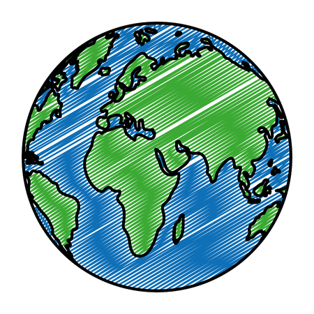 doodle circle global map asia and europe geography vector illustration