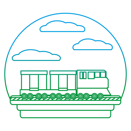 degarded line side train transport wagon way carriage vector illustration