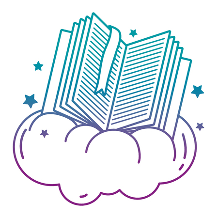 degraded line open book with separator in the cloud and stars vector illustration Vettoriali