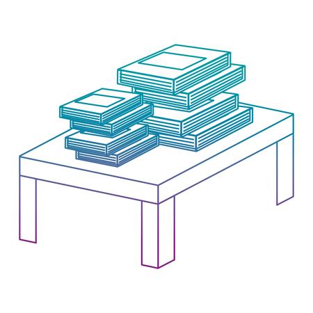 Ligne dégradée fermer des livres objet d'éducation dans la table en bois