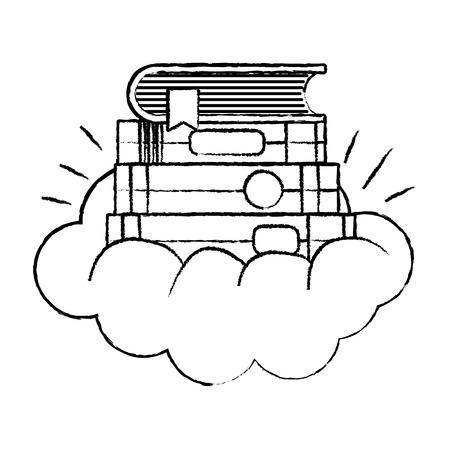grunge close separator style in the cute cloud