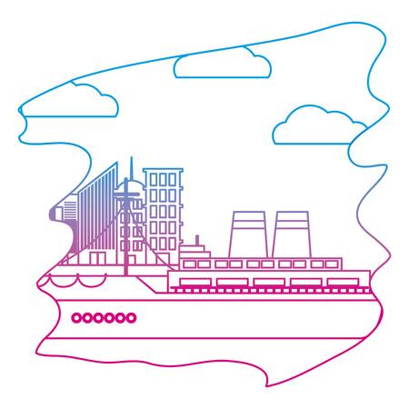 degraded line side ship transport ocean vehicle Illustration