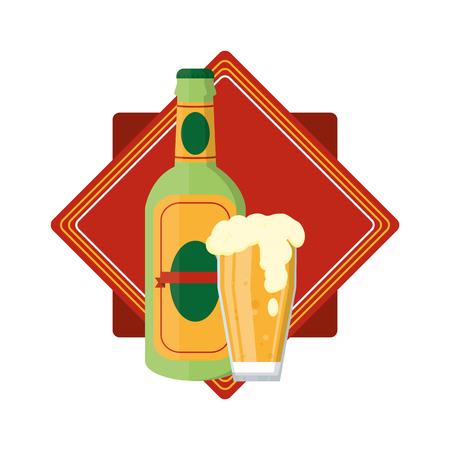 botella de aguardiente y emblema de vidrio de cerveza