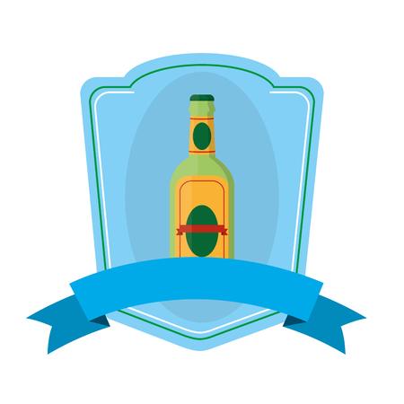 schnapps liquor bottle emblem with ribbon Illustration