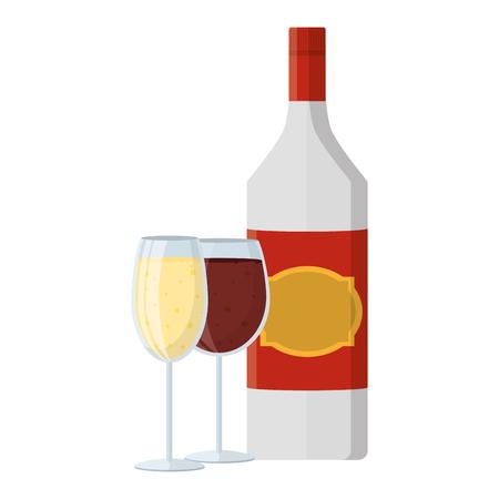schnapps liquor bottle with champagne and brandy glass Standard-Bild - 102286712