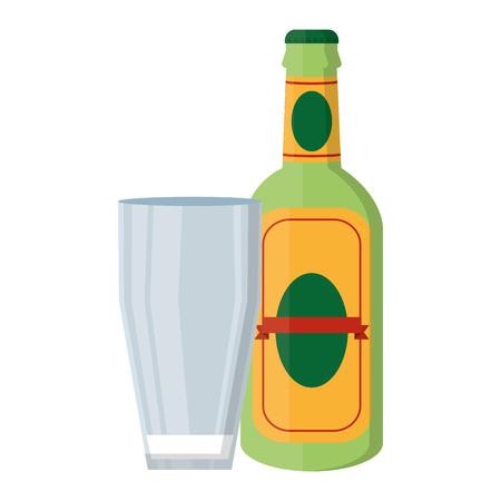 Bebida de botella de licor de aguardiente con vidrio Ilustración de vector