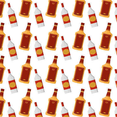 tequila and schnapps liquor bottle background Vectores