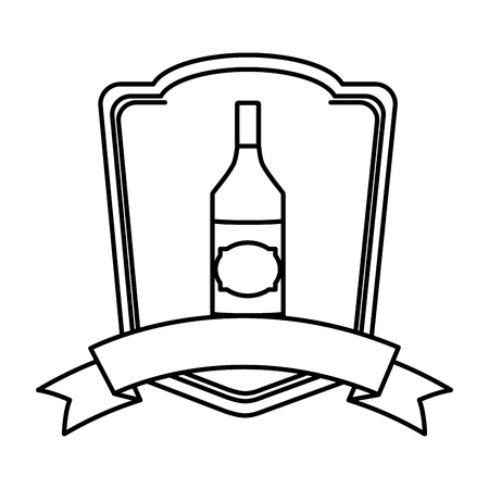 line schnapps liquor bottle beverage emblem Illustration