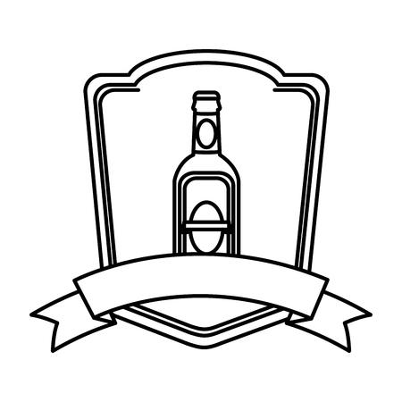 line schnapps liquor bottle emblem with ribbon Illustration