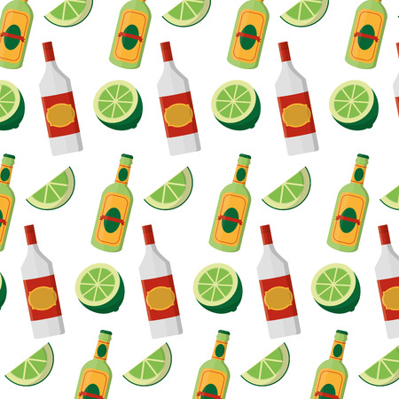 schnapps bottles beverages and lemon background Standard-Bild - 102286785