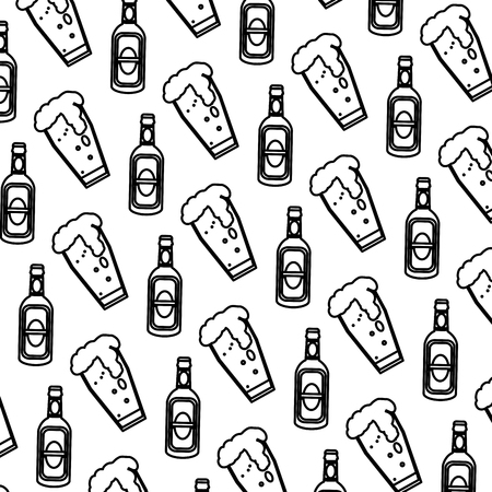 Línea botella de licor schnapps y fondo de vaso de cerveza