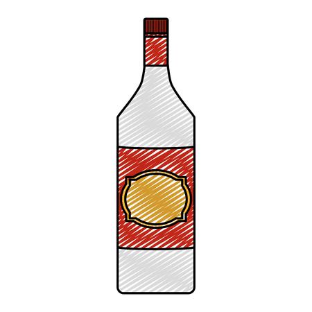 doodle schnapps alcohol bottle liquor beverage Illustration