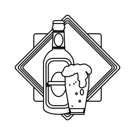 line schnapps bottle and beer glass emblem