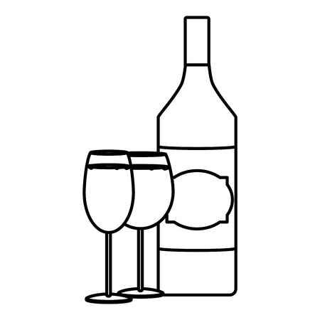 line schnapps liquor bottle with champagne and brandy glass Illustration