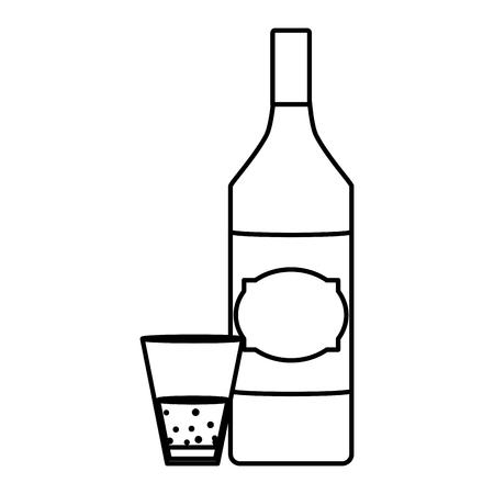 line schnapps liquor bottle and glass beverage