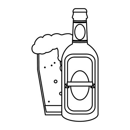 line liquor schnapps bottle and beer glass