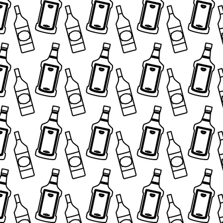 line tequila and schnapps liquor bottle background