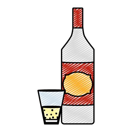 Doodle schnapps licor botella y bebida de vidrio Ilustración de vector