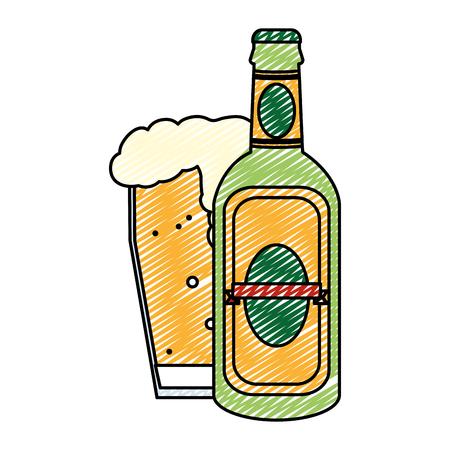 doodle liquor schnapps bottle and beer glass Illustration