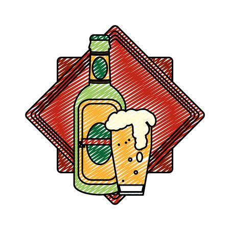 doodle schnapps bottle and beer glass emblem Illustration