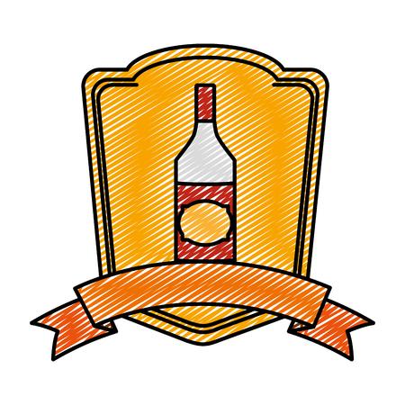 Doodle aguardiente licor botella bebida emblema