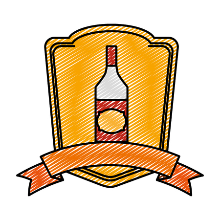 doodle schnapps liquor bottle beverage emblem Illustration