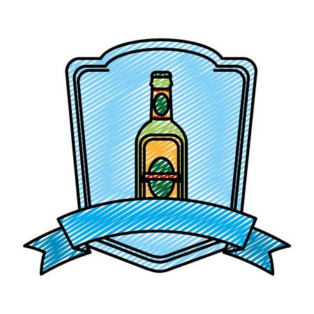 Emblema de botella de licor de aguardiente de doodle con cinta Ilustración de vector