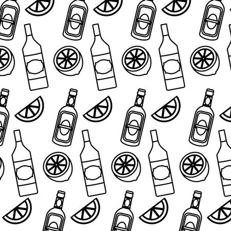 line schnapps bottles beverages and lemon background Illustration