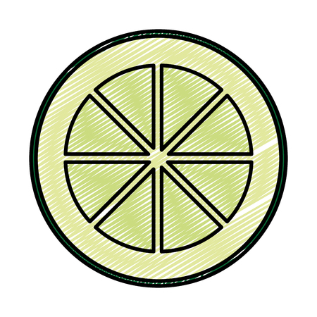 doodle slice lemon delicious organic fruit Vettoriali